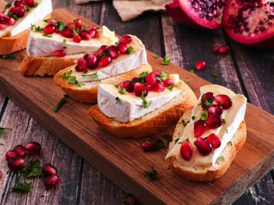 Pomegranate and Brie Crostini